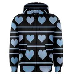 Blue harts pattern Men s Zipper Hoodie