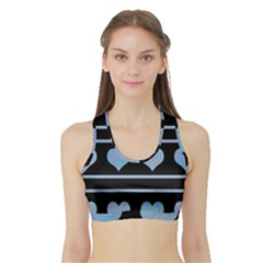 Blue harts pattern Sports Bra with Border