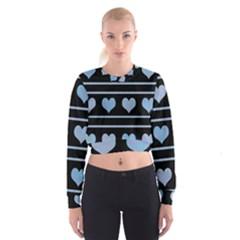 Blue harts pattern Women s Cropped Sweatshirt