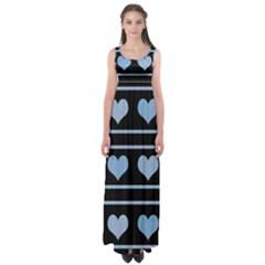 Blue harts pattern Empire Waist Maxi Dress