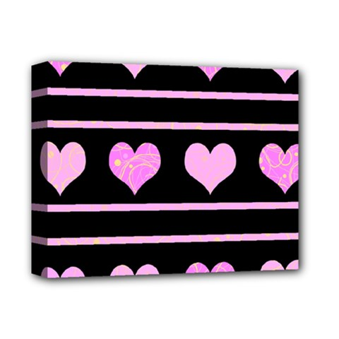 Pink harts pattern Deluxe Canvas 14  x 11