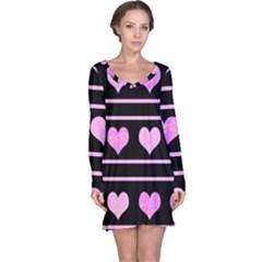 Pink harts pattern Long Sleeve Nightdress