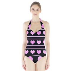 Pink harts pattern Halter Swimsuit