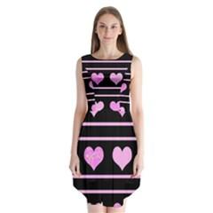 Pink harts pattern Sleeveless Chiffon Dress