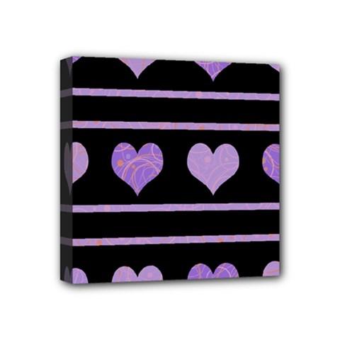 Purple harts pattern Mini Canvas 4  x 4
