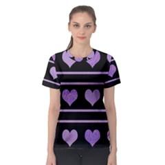 Purple harts pattern Women s Sport Mesh Tee