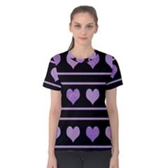 Purple harts pattern Women s Cotton Tee