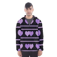 Purple harts pattern Hooded Wind Breaker (Men)