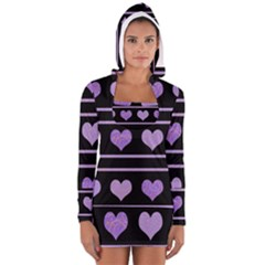 Purple harts pattern Women s Long Sleeve Hooded T-shirt