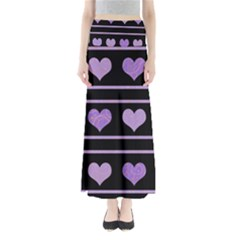 Purple Harts Pattern Maxi Skirts