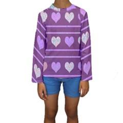Purple harts pattern 2 Kids  Long Sleeve Swimwear