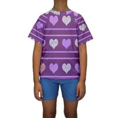Purple harts pattern 2 Kids  Short Sleeve Swimwear