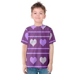 Purple harts pattern 2 Kids  Cotton Tee