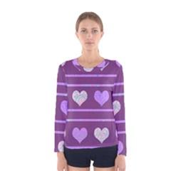 Purple harts pattern 2 Women s Long Sleeve Tee
