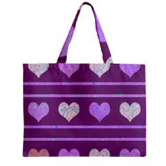 Purple harts pattern 2 Zipper Mini Tote Bag