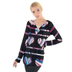 Colorful harts pattern Women s Tie Up Tee