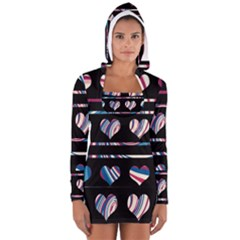 Colorful harts pattern Women s Long Sleeve Hooded T-shirt