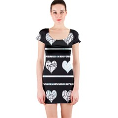 Elegant harts pattern Short Sleeve Bodycon Dress