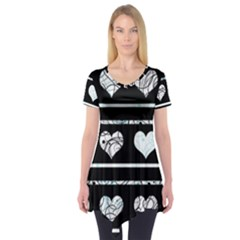 Elegant harts pattern Short Sleeve Tunic