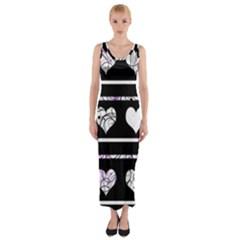 Elegant harts pattern Fitted Maxi Dress