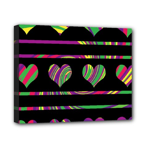Colorful harts pattern Canvas 10  x 8