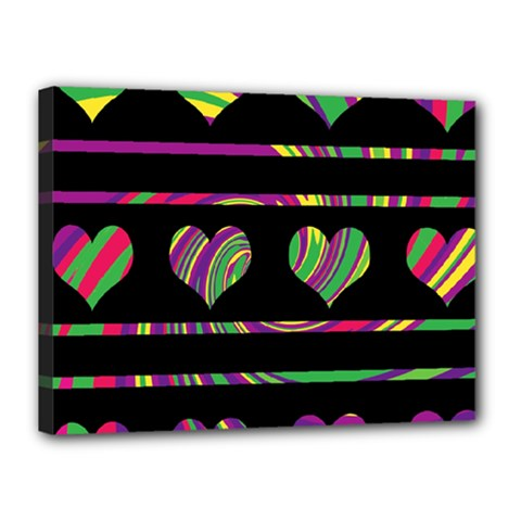 Colorful harts pattern Canvas 16  x 12