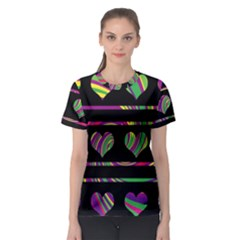 Colorful harts pattern Women s Sport Mesh Tee
