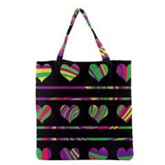 Colorful harts pattern Grocery Tote Bag