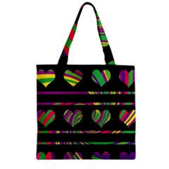 Colorful harts pattern Zipper Grocery Tote Bag