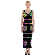 Colorful harts pattern Fitted Maxi Dress