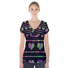 Colorful harts pattern Short Sleeve Front Detail Top