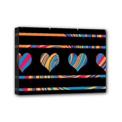 Colorful harts pattern Mini Canvas 7  x 5