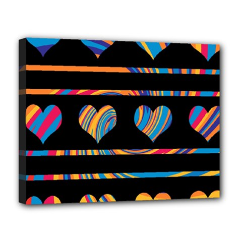 Colorful harts pattern Canvas 14  x 11
