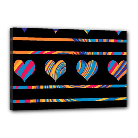 Colorful harts pattern Canvas 18  x 12