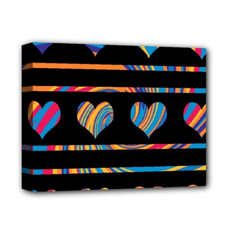 Colorful harts pattern Deluxe Canvas 14  x 11