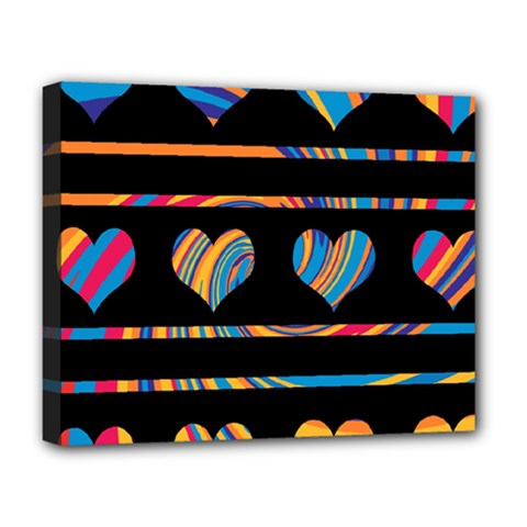 Colorful harts pattern Deluxe Canvas 20  x 16