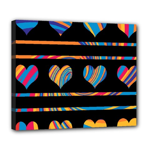 Colorful harts pattern Deluxe Canvas 24  x 20
