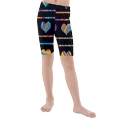 Colorful harts pattern Kids  Mid Length Swim Shorts
