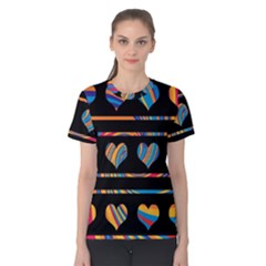 Colorful harts pattern Women s Cotton Tee