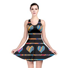 Colorful harts pattern Reversible Skater Dress