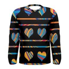 Colorful harts pattern Men s Long Sleeve Tee