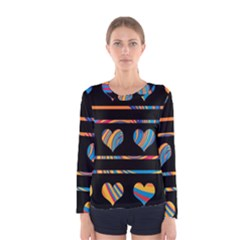 Colorful harts pattern Women s Long Sleeve Tee