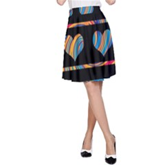 Colorful harts pattern A-Line Skirt