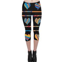 Colorful harts pattern Capri Leggings