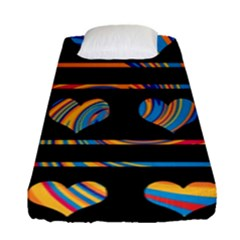 Colorful harts pattern Fitted Sheet (Single Size)