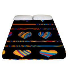 Colorful harts pattern Fitted Sheet (California King Size)