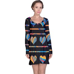 Colorful harts pattern Long Sleeve Nightdress