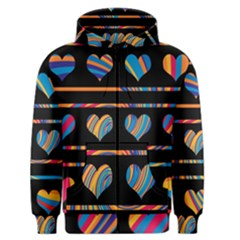 Colorful harts pattern Men s Zipper Hoodie