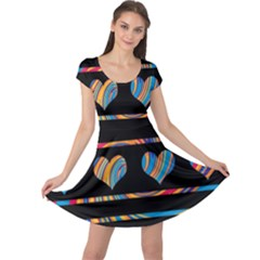 Colorful harts pattern Cap Sleeve Dresses