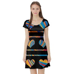 Colorful harts pattern Short Sleeve Skater Dress